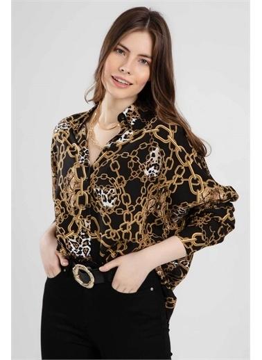 Pattaya Pattaya Kadın Oversize Zincir Desenli Uzun Kollu Gömlek PTTY20S-O205 Renkli